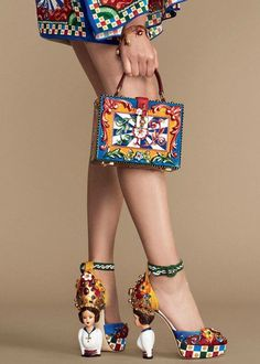 Dolce & Gabbana doll shoes, jewelled handbag. 2015 collection. Spanish inspired fashion