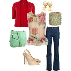 Floral Top, created by carejeansams on Polyvore