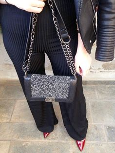 Christmas glam #fashion #outfit #outfits #beauty #bloggers #priestessofstyle #style #styles #fashionblogger #christmas #heels #jumpsuit #jacket #leather #bag #bracelet Chanel Boy Bag, Leather Bag, Jumpsuit, Backpacks, Shoulder Bag, Bracelet, Sunglasses, Coat, Heels
