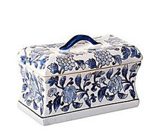 Caja de cerámica Flores – blanco y azul