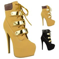 LADIES WOMENS VERY HIGH HEEL LACE UP PLATFORM STILETTO ANKLE COMBAT BOOTS SHOES SIZE: Amazon.co.uk: Shoes & Bags