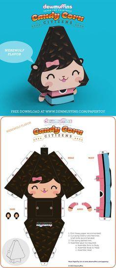 Dewmuffins Halloween Printable Paper Toy Candy Corn Werewolf