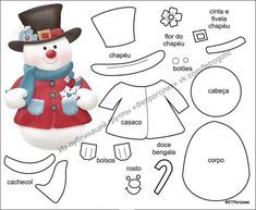 DIY Felt Christmas Ornament Pattern and Template - Salvabrani Holidays greeting card with Spanish phrase means Merry Christmas.ideas for ugly sweater Felt Snowman, Snowman Crafts, Felt Crafts, Christmas Crafts, Felt Christmas Decorations, Felt Christmas Ornaments, Christmas Stockings, Christmas Makes, Christmas Art