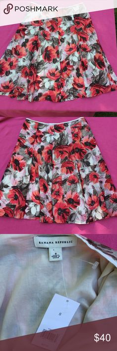 Banana Republic Poppy Skirt Talk about petal power. Lightweight, flirty, softly-pleated skirt is a summer staple. Silk blend, fully lined, hidden back zipper. Knee length; 24 inches. New with tags. Banana Republic Skirts A-Line or Full