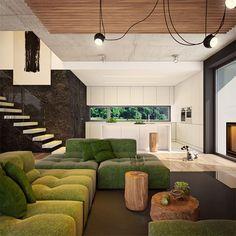 Modny III - dom parterowy z poddaszem użytkowym i garażem   doomo Barn House Plans, Architect House, Prefab Homes, Next At Home, Construction, House Design, How To Plan, Living Room, Interior Design