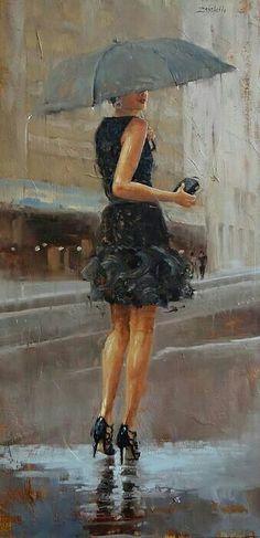 Rain Painting - Play Date by Laura Lee Zanghetti Art Photography, Street Photography, Rain Art, Umbrella Art, Walking In The Rain, Laura Lee, Beautiful Paintings, Oeuvre D'art, Figurative Art