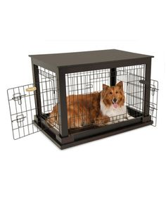 Take a look at this Petmate Dark Wood & Black Indoor Wooden Wire Pet Kennel on zulily today!