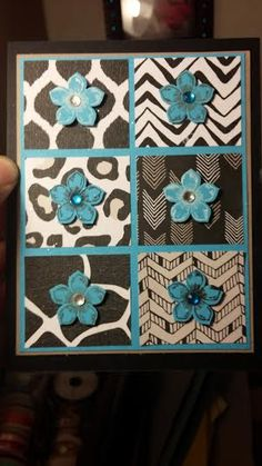 Stampin' Up Go WIld DSP and Petite Petals cards using tempting turquoise, basic black, and tip top taupe cardstock. Petals stamped with momento tuxedo black, craft white, and tip top taupe and punched with the petite petals coordinating punch and mounted with dimensionals. Clear and turquoise rhinestones added and glitter spray. Inspired by Keanen Kreations