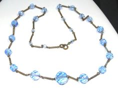 Antique Art Deco Blue Glass CRYSTAL Necklace by SellitAgainVintage, $85.00