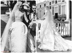 Princess Grace's unforgettable wedding dress, a gift from the MGM studio, was designed by the legend, Helen Rose. Made of 25 yards of silk taffeta, 100 yards of silk net, peau de soie, tulle and 125-year-old Brussels rose point lace, it took 36 seasmstresses, 6 weeks to complete. But it remains today one of the most iconic wedding dresses of all time! The Juliet cap that she wore was bejeweled with seed pearls and orange blossoms and sat atop the tulle veil that measured 90 yards.