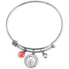 Disney Mickey Minnie Mouse Cherry Quartz Charm Bracelet in Stainless... ($20) ❤ liked on Polyvore featuring jewelry, bracelets, no color, disney, stainless steel jewelry, disney jewelry, stainless steel bangles and cherry jewelry