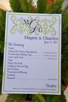 """Kelly"" Wedding Programs from www.wiregrassweddings.com.  Affordable and cute too!"