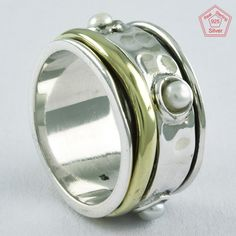 Sz 5.5 US,TWO TONE PEARL STONE 925 STERLING SILVER SPINNER RING, R4613 #SilvexImagesIndiaPvtLtd #Spinner #AllOccasions