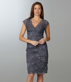 Marina Beaded Lace Dress | Dillards.com