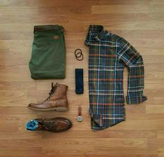 flannel & leather boots #MensFashionEdgy