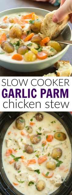 This Slow Cooker Garlic Parmesan Chicken Stew is bound to be your new favorite winter comfort food! It's hearty, creamy, cheesy and loaded with vegetables! The crockpot makes it an easy weeknight meal. Includes a how-to recipe video | crock pot | easy recipe | healthy recipe | comfort food
