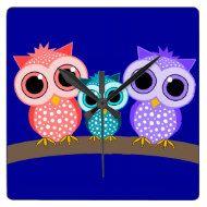 Cute owl wall clock - a lovely piece of home decor.
