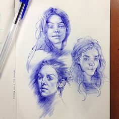 Showcase and discover creative work on the world's leading online platform for creative industries. Portrait Sketches, Art Sketches, Art Drawings, Art Inspo, Art Journal Inspiration, Human Anatomy Drawing, Human Figure Drawing, Ballpen Drawing, Ballpoint Pen Drawing