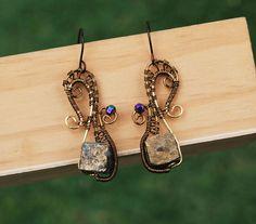 Wire Wrap Titanium Coated Iron Pyrite Artisan Earrings Spiral Swirl Earrings #Jeanninehandmade #Wrap