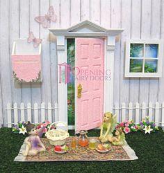 Opening Fairy Door plus fairy picnic accessories Australian Made Opening Fairy Doors, Fairy Door Accessories, Tooth Fairy Doors, Ruby Room, Fairy Room, Fairy Pictures, Fairy Crafts, Fairy Furniture, Toddler Rooms