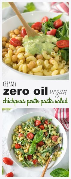 Vegan zero oil chickpeas pesto pasta salad . Add gluten free pasta to make it GF. Healthy salad for summer picnics / potlucks, lunch box.