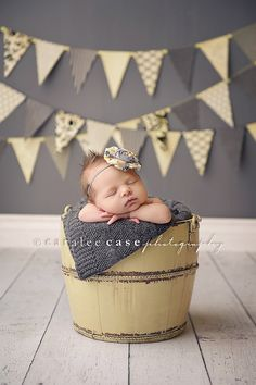 Reese- grey and yellow Delia style flower and rosette headband. $13.50, via Etsy. (and love this picture!)
