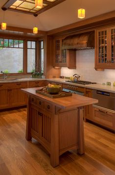 Kitchen Island Lighting Craftsman Layout 54 Ideas For 2019 Kitchen Styling, Cherry Kitchen, Craftsman Style Kitchens, Craftsman Style Homes, Wood Kitchen, Craftsman Furniture, Craftsman Bungalows, Kitchen Remodel, Craftsman Style