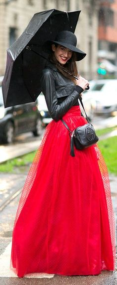 Red Maxi Tulle Skirt
