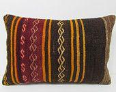 16x24 kilim pillow lumbar throw pillow sofa bohemian tapestry aztec pillow cover turkish pillow cover kilim pillow case boho decor rug 25026