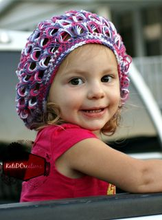 Broomstick Lace Slouchy Hat, free crochet pattern with tutorial photos for working in the round from Kati D Creations in child and adult sizes