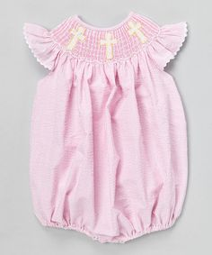 Pink Crosses Smocked Bubble Bodysuit - Infant & Toddler by Barefoot Children's Clothing #zulily #zulilyfinds