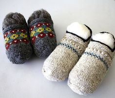 This pattern features the Bosnian method for starting at the toe. Similar to an I=cord, a few sts are worked back and forth without turning. Once the toe is finished, you pick up the foot sts from around the toe with your other needles. It's pretty slick! I Cord, Knit Crochet, Knitting Patterns, Ravelry, Slippers, Toe, Pretty, Crafts, Crocheting