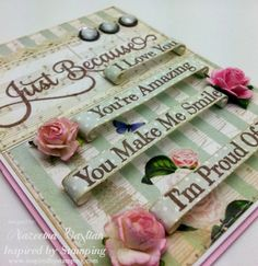 Scrolled Sentiments adds visual interest - stamped, distressed & glittered ~ gorgeous!