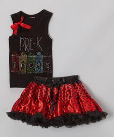 Look at this #zulilyfind! Black & Red 'Pre-K' Tank & Pettiskirt - Toddler & Girls by So Girly & Twirly #zulilyfinds
