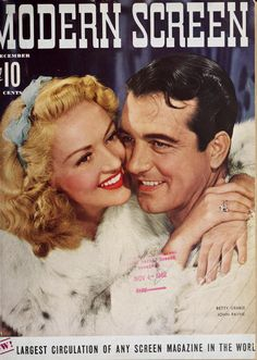 Betty Grable & John Payne in Modern Screen magazine December issue Old Movies, Vintage Movies, Great Movies, Star Magazine, Movie Magazine, Classic Movie Posters, Classic Movies, Vintage Hollywood, Classic Hollywood