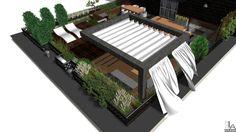 Nowoczesny projekt tarasu na dachu.