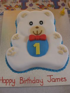 1st Birthday Teddy Bear Cake!  https://www.youtube.com/user/cakesbysharon