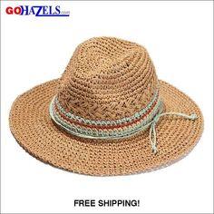631c01540 Women Wide Brim Straw Skimmer Roll up Beach Sun Hat   GoHazels.com &
