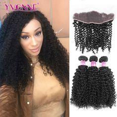 말레이시아 곱슬 머리 이본 브라질 레이스 정면 폐쇄 번들, 1 개 레이스 정면 13.5x4 3 개 인간의 머리 번들