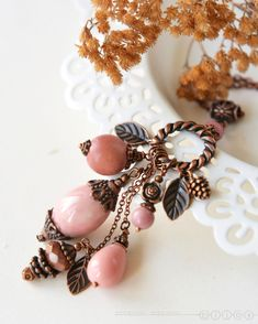 Купить Подвеска на цепочке «Пряная роза» - брусничный, пыльно-розовый, пыльная роза, розовая подвеска