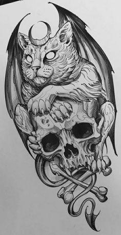 Japan Tattoo Design, Tattoo Design Drawings, Tattoo Sleeve Designs, Tattoo Sketches, Sleeve Tattoos, Doodle Tattoo, Tatoo Art, Spooky Tattoos, Skull Tattoos