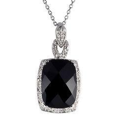 This sophisticated black onyx necklace features a large cushion-cut onyx surrounded by icy-white diamonds. The pendant hangs from a delicate sterling silver cable chain that closes with a spring ring clasp for security at work or play.