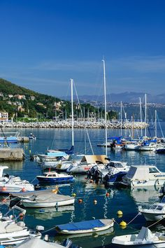The harbor and marina at Lovran, Croatia.