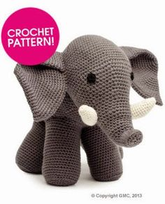 Crochet Patterns Ideas Amigurumi Elephant - FREE Crochet Pattern / Tutorial - You'll love our Elephant Crochet Post that includes Elephant Crochet Rug, Elephant Crochet Pillow, Elephant Crochet Blanket and Elephant Crochet Amigurumi Crochet Diy, Crochet Amigurumi Free Patterns, Crochet For Kids, Crochet Dolls, Crochet Elephant Pattern Free, Crochet Pillow, Crocheted Toys, Crochet Animal Patterns, Diy Crochet Elephant