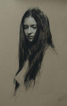 "Charcoal Drawing ""Daydream"", charcoal portrait drawing by Casey Childs. Portrait Sketches, Portrait Paintings, Pencil Portrait, Portrait Art, Life Drawing, Figure Drawing, Drawing Sketches, Art Drawings, Drawing Ideas"