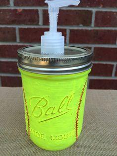 Girls Softball Soap Dispenser. Neon Yellow hand painted Mason Jar. Softball Mason Jar. Girls Gift. Sports. Bathroom Decor. Girls Birthday.