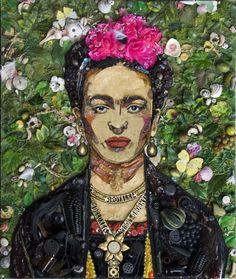 Frida Kahlo, by Jason Mecier. #Art #Artist #Collage #JasonMecier #Junk #Portrait #Tribute