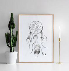 Posters / print med drömfångare   Svartvita tavlor och affischer online.