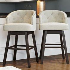 Alcott Hill® Farmington Swivel Bar Stool with Cushion Bar Stools With Backs, 26 Bar Stools, Swivel Bar Stools, Bar Chairs, Room Chairs, Island Chairs, Swivel Chair, Dining Chairs, Mid Century Bar Stools