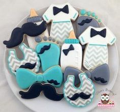Mustache boy baby shower cookies by brittanyw1382